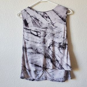 Helmut Lang Black and White Marble Print Tank Top